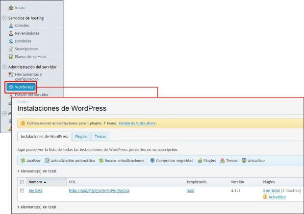 Cómo se utiliza el paquete de herramientas de WordPress con Plesk 12?